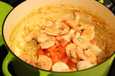 Seafood Risotto Seafood Back in Pot
