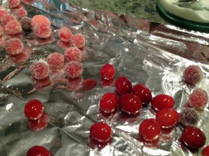 roll the cranberries in sugar