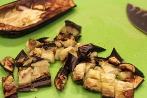 Roasted Vegetable Chickpea Salad Dicing Roasted Eggplant