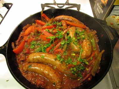 Sausage and peppers after simmering