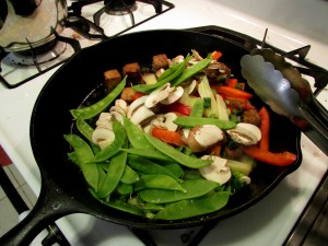 Add the veggies to the tofu