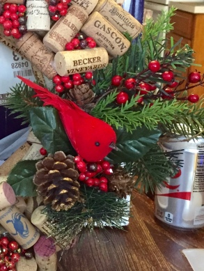 Wine Cork Christmas Wreath - centerpiece up close